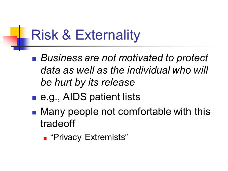 Risk & Externality Business are not motivated to protect data as well as the individual who will be hurt by its release e.g., AIDS patient lists Many people not comfortable with this tradeoff Privacy Extremists
