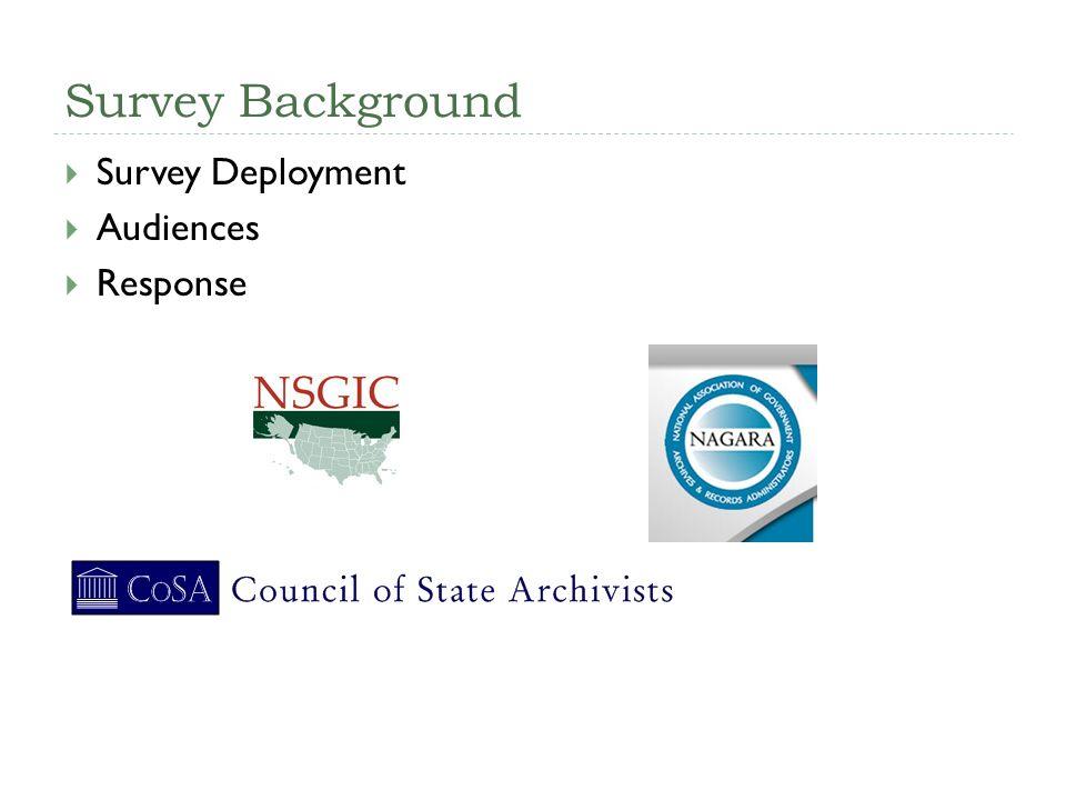 Survey Background Survey Deployment Audiences Response