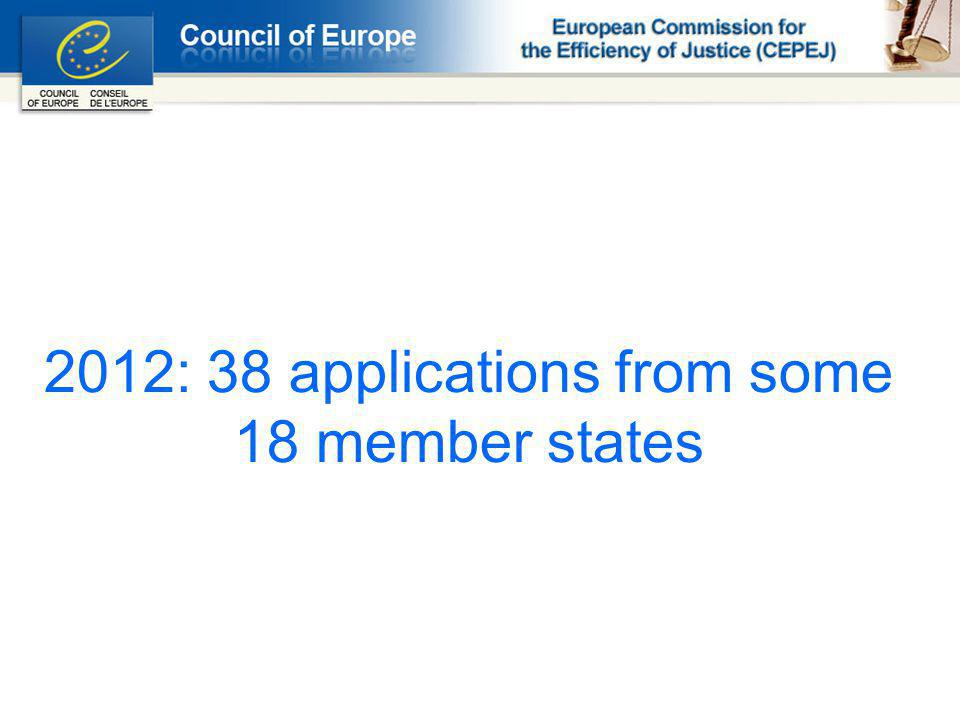 2012: 38 applications from some 18 member states