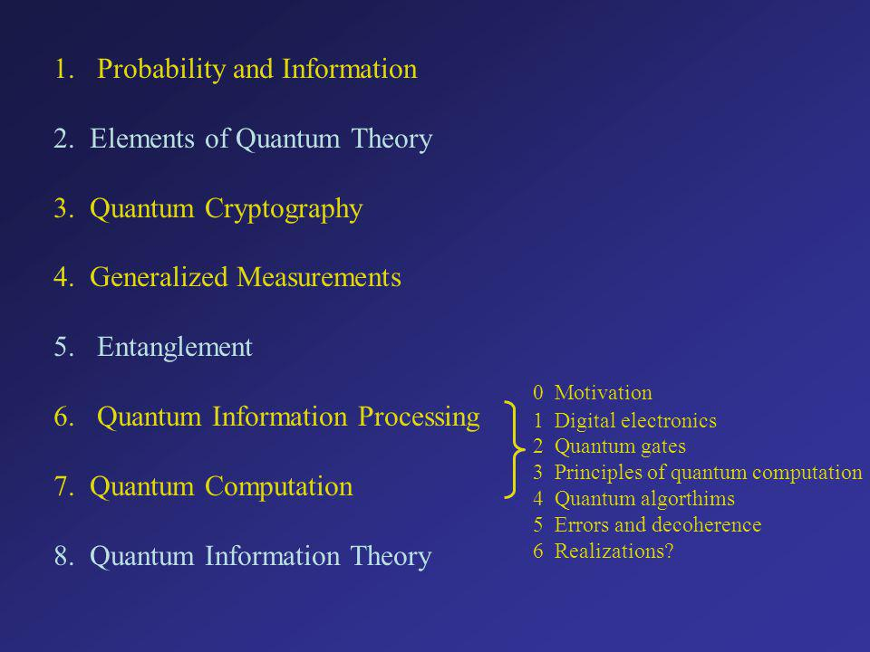 0 Motivation 1 Digital electronics 2 Quantum gates 3 Principles of quantum computation 4 Quantum algorthims 5 Errors and decoherence 6 Realizations.