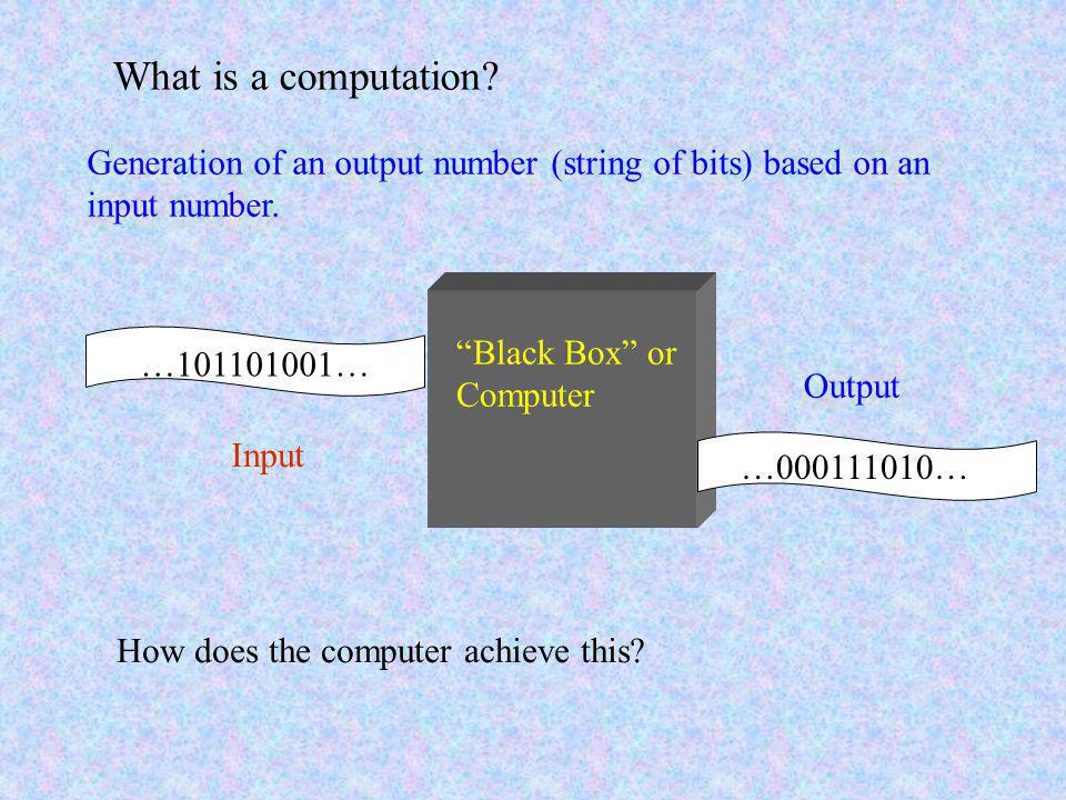 …101101001… …000111010… Input Output Black Box or Computer What is a computation.