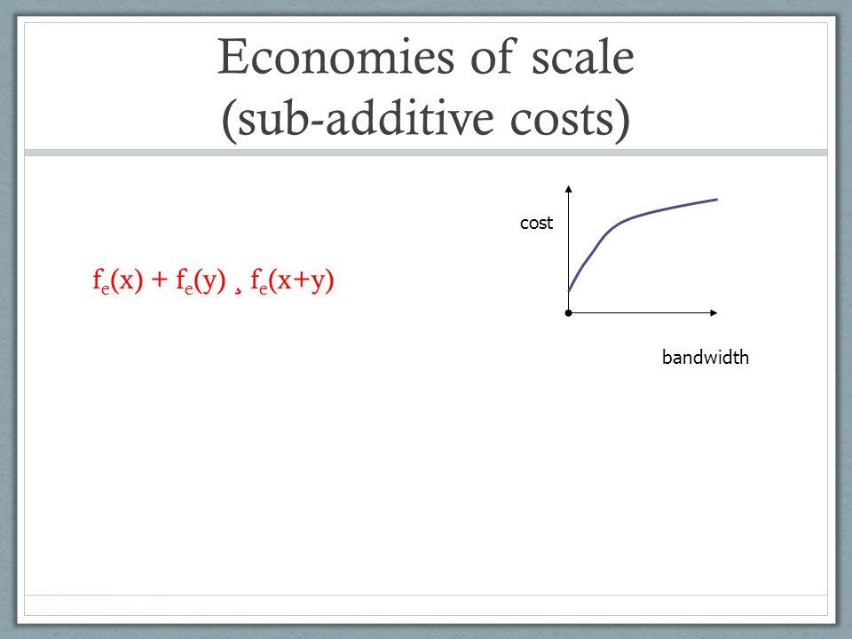 Economies of scale (sub-additive costs) f e (x) + f e (y) ¸ f e (x+y) cost bandwidth