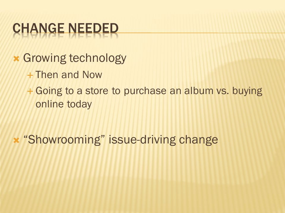 Growing technology Then and Now Going to a store to purchase an album vs. buying online today Showrooming issue-driving change