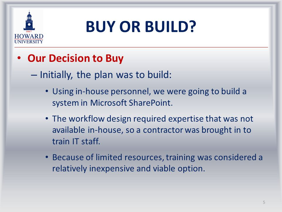 BUY OR BUILD.