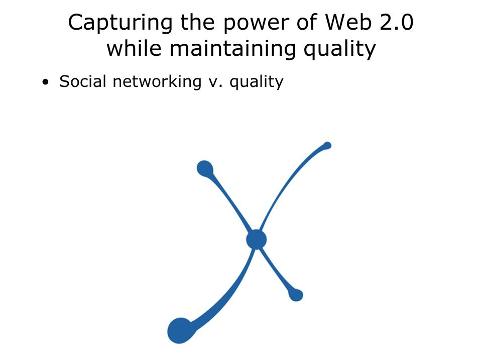 Capturing the power of Web 2.0 while maintaining quality Social networking v. quality