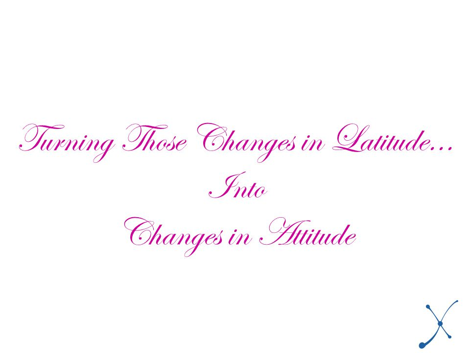Turning Those Changes in Latitude... Into Changes in Attitude