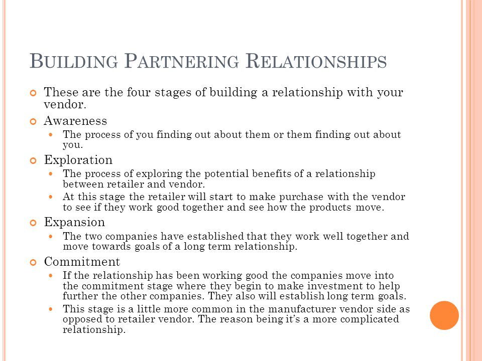 B UILDING P ARTNERING R ELATIONSHIPS These are the four stages of building a relationship with your vendor. Awareness The process of you finding out a