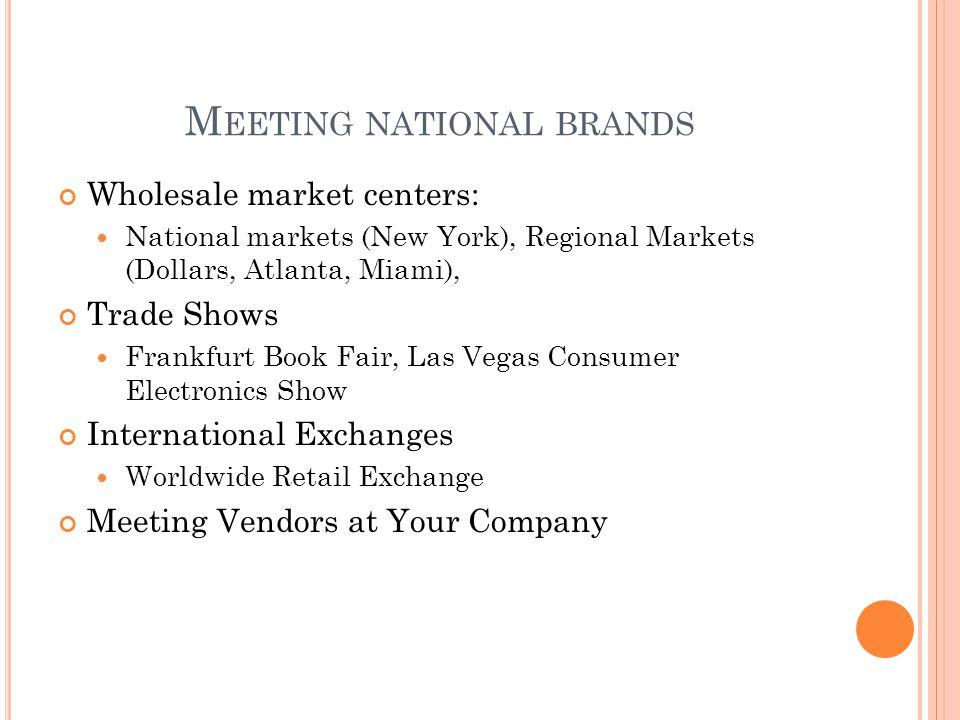 M EETING NATIONAL BRANDS Wholesale market centers: National markets (New York), Regional Markets (Dollars, Atlanta, Miami), Trade Shows Frankfurt Book