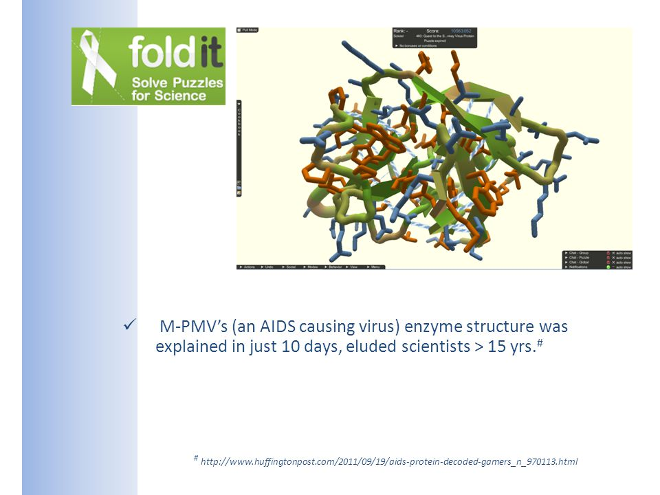 M-PMVs (an AIDS causing virus) enzyme structure was explained in just 10 days, eluded scientists > 15 yrs.