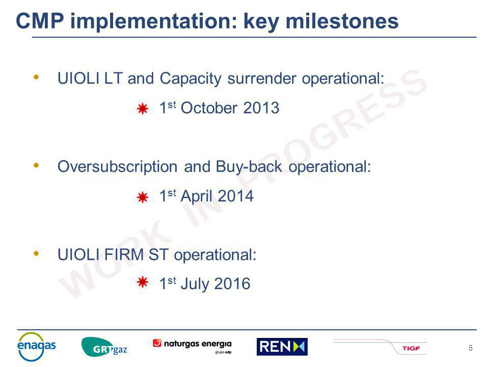4 2014 2015 2016 Roadmap CMP implementation - 2014/2016 Approval by NRAs of UIOLI FIRM ST proposal March 2016 December 2016 October 2014 April 2014 Stakeholders feedback on Oversubscription / Buy-back October 2015 Dec 2015 July 2016 UIOLI FIRM ST proposal UIOLI FIRM ST start implementation Stakeholders feedback on UIOLI FIRM ST UIOLI FIRM ST come into force for the concerned IPs UIOLI FIRM ST Operational Oversubscription / Buy-back Operational January 2015 UIOLI FIRM ST Market consultation NRAs Stake holders TSOs