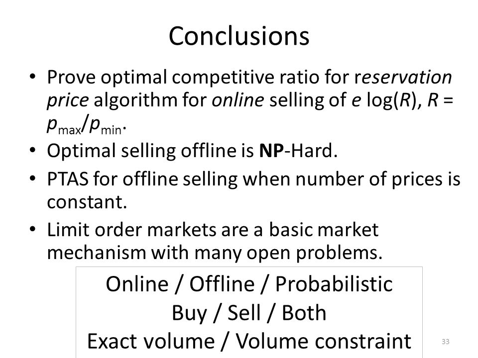 Conclusions Prove optimal competitive ratio for reservation price algorithm for online selling of e log(R), R = p max /p min.