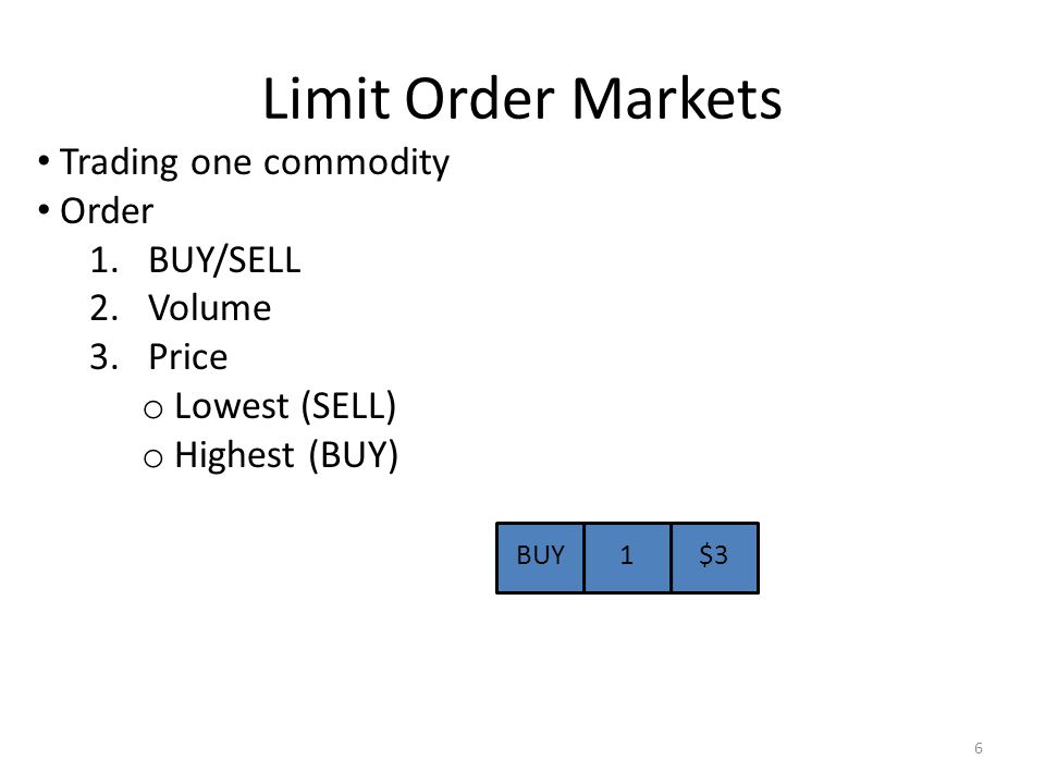 Limit Order Markets Trading one commodity Order 1.BUY/SELL 2.Volume 3.Price o Lowest (SELL) o Highest (BUY) BUY1$3 6