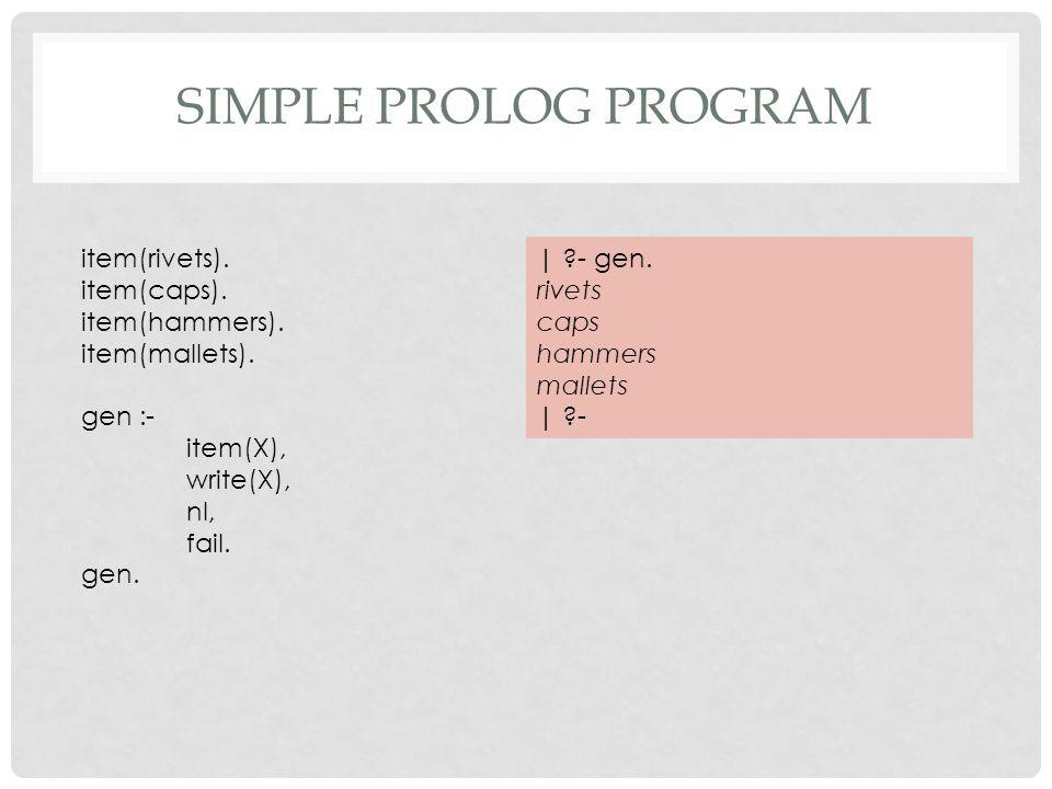 SIMPLE PROLOG PROGRAM item(rivets). item(caps). item(hammers).