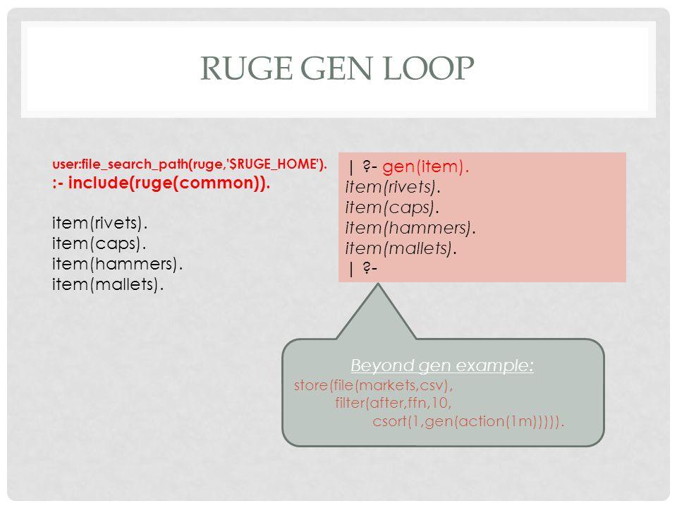 RUGE GEN LOOP user:file_search_path(ruge, $RUGE_HOME ).