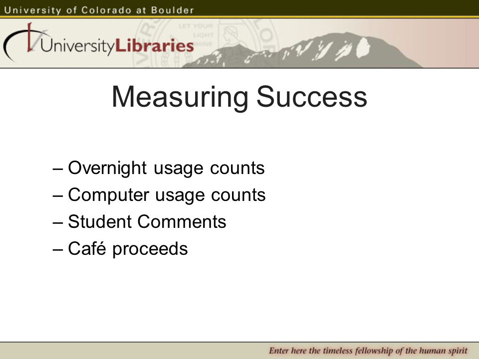 Measuring Success –Overnight usage counts –Computer usage counts –Student Comments –Café proceeds