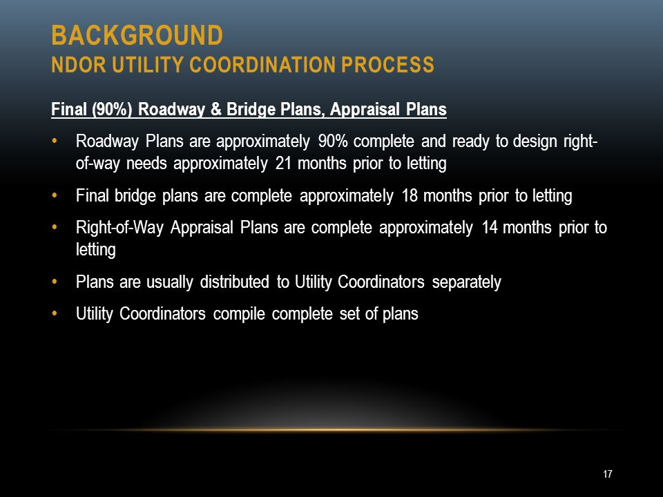 BACKGROUND NDOR UTILITY COORDINATION PROCESS Final (90%) Roadway & Bridge Plans, Appraisal Plans Roadway Plans are approximately 90% complete and read
