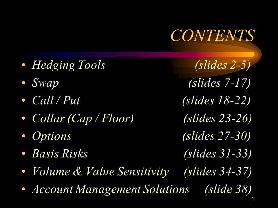 1 CONTENTS Hedging Tools (slides 2-5) Swap (slides 7-17) Call / Put (slides 18-22) Collar (Cap / Floor) (slides 23-26) Options (slides 27-30) Basis Ri
