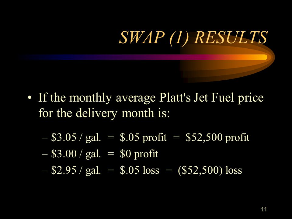 11 SWAP (1) RESULTS If the monthly average Platt's Jet Fuel price for the delivery month is: –$3.05 / gal. = $.05 profit = $52,500 profit –$3.00 / gal