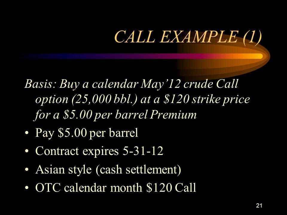 21 CALL EXAMPLE (1) Basis: Buy a calendar May12 crude Call option (25,000 bbl.) at a $120 strike price for a $5.00 per barrel Premium Pay $5.00 per ba