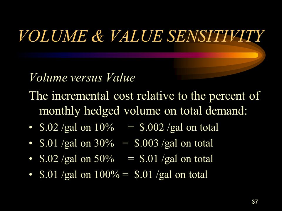 37 VOLUME & VALUE SENSITIVITY Volume versus Value The incremental cost relative to the percent of monthly hedged volume on total demand: $.02 /gal on