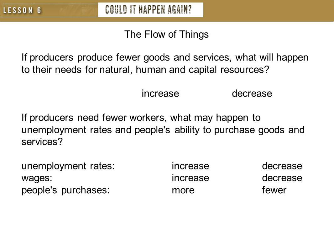 If producers produce fewer goods and services, what will happen to their needs for natural, human and capital resources? increasedecrease If producers