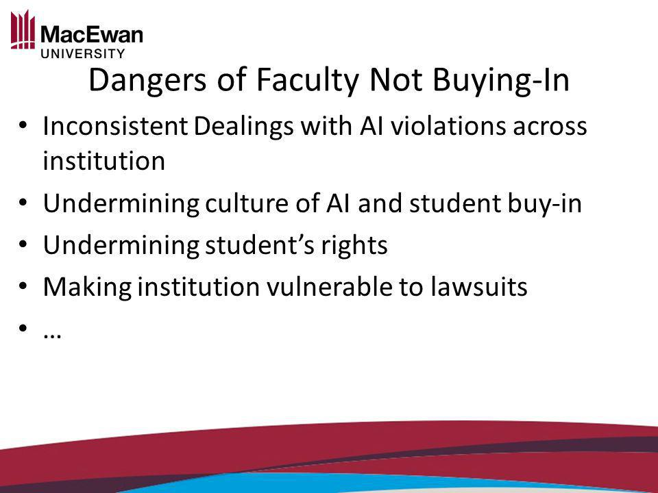 Dangers of Faculty Not Buying-In Inconsistent Dealings with AI violations across institution Undermining culture of AI and student buy-in Undermining students rights Making institution vulnerable to lawsuits …