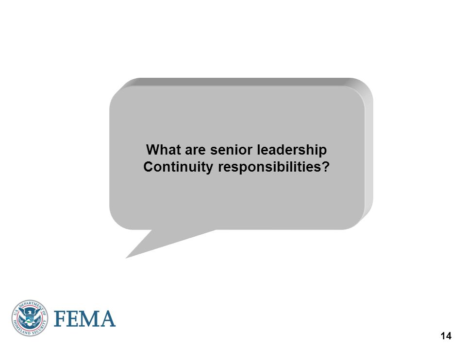 14 What are senior leadership Continuity responsibilities?