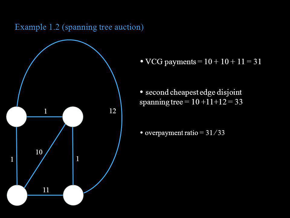 Example 1.2 (spanning tree auction) VCG payments = 10 + 10 + 11 = 31 second cheapest edge disjoint spanning tree = 10 +11+12 = 33 overpayment ratio =