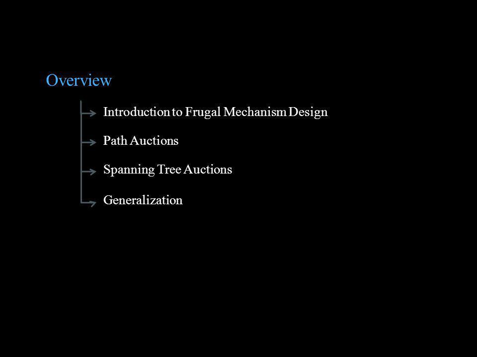 Overview Introduction to Frugal Mechanism Design Path Auctions Spanning Tree Auctions Generalization