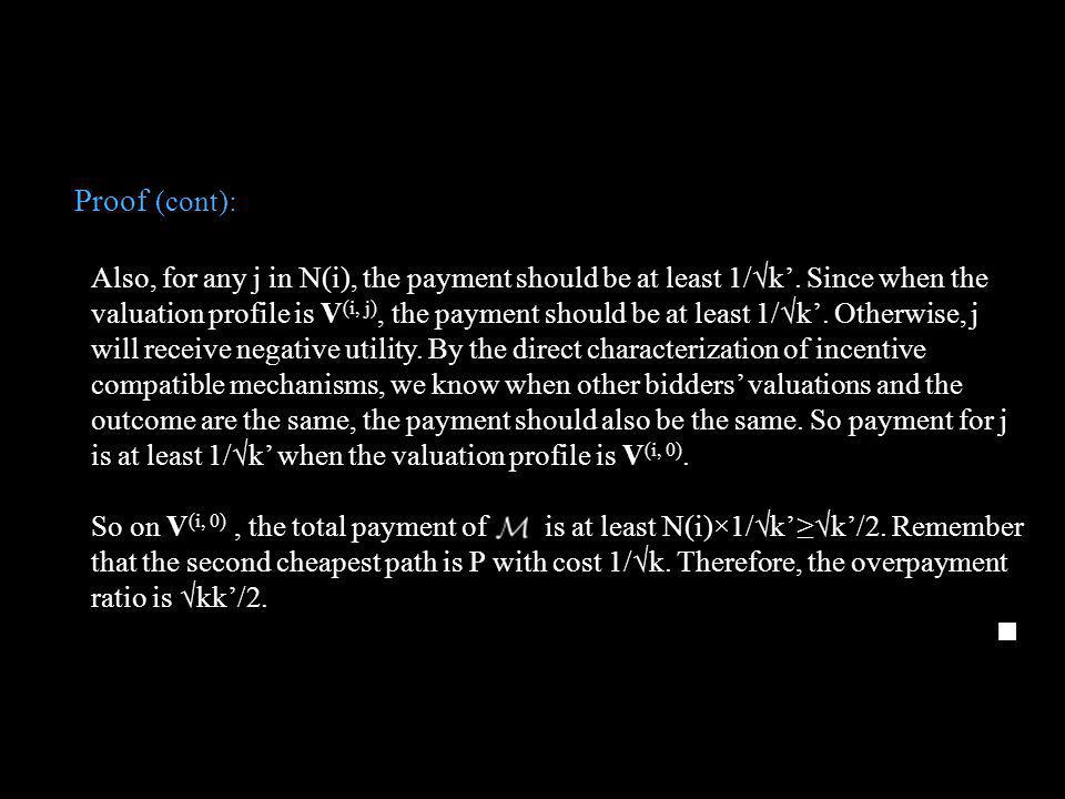 Proof (cont): Also, for any j in N(i), the payment should be at least 1/k. Since when the valuation profile is V (i, j), the payment should be at leas