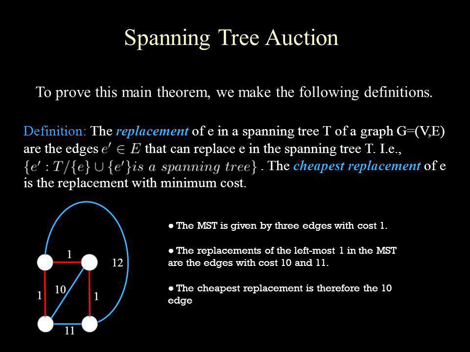 Spanning Tree Auction To prove this main theorem, we make the following definitions. Definition: The replacement of e in a spanning tree T of a graph