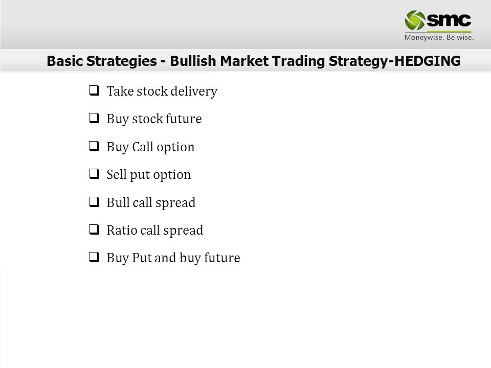 Sell stock future Buy Put option Sell Call option Bear Put spread Ratio Put spread Sell stock and buy Call Basic Strategies - Bearish Market Trading Strategy