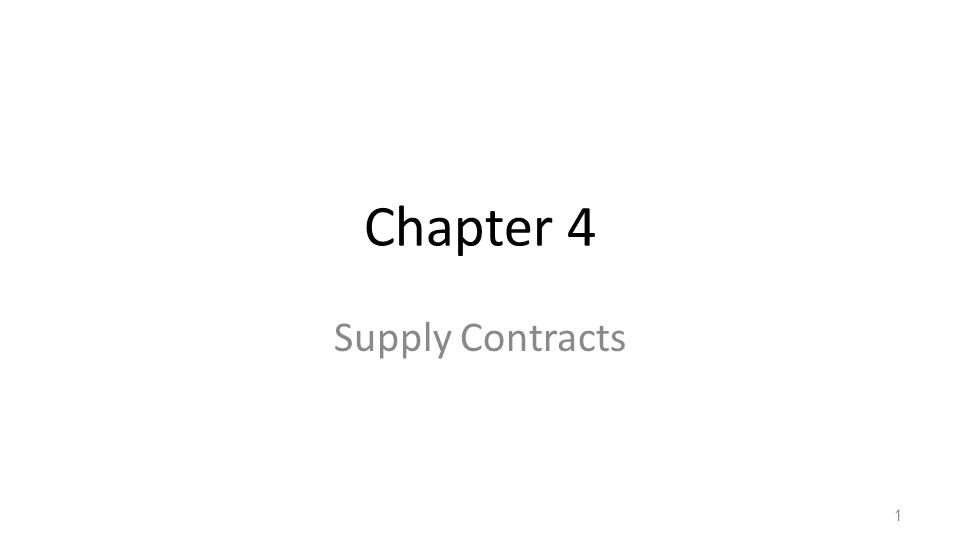 Chapter 4 Supply Contracts 1
