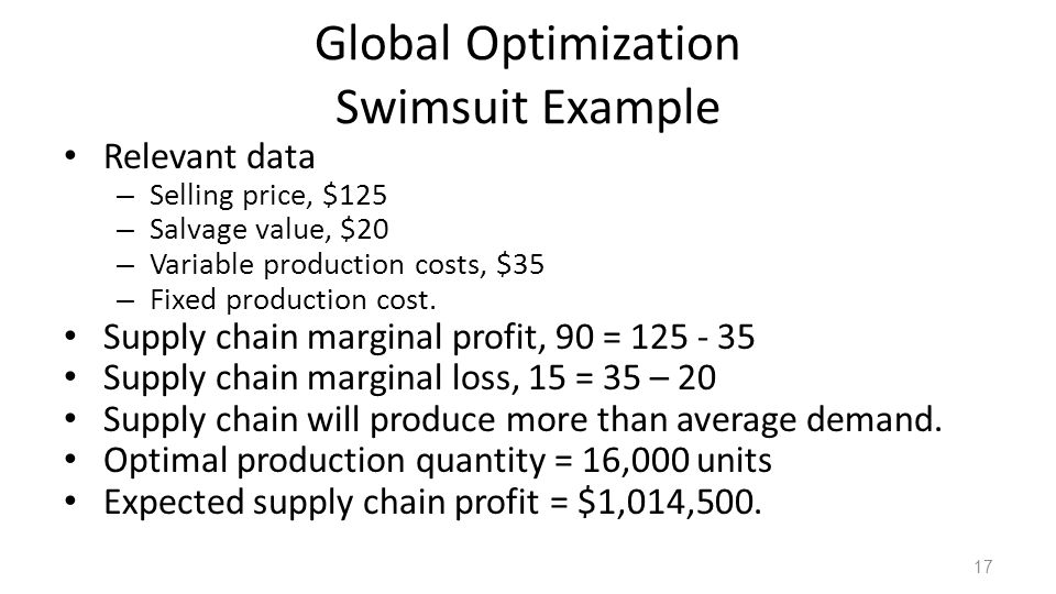 Global Optimization Swimsuit Example Relevant data – Selling price, $125 – Salvage value, $20 – Variable production costs, $35 – Fixed production cost
