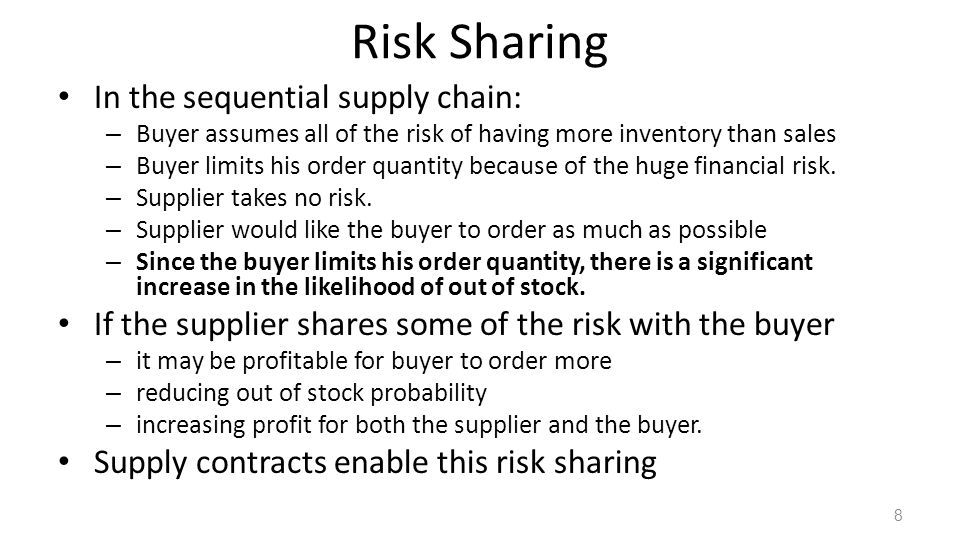 Risk Sharing In the sequential supply chain: – Buyer assumes all of the risk of having more inventory than sales – Buyer limits his order quantity bec