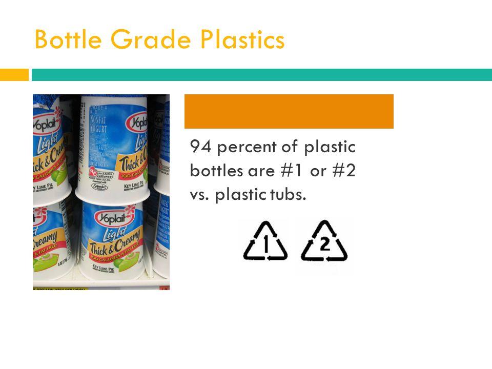 Bottle Grade Plastics 94 percent of plastic bottles are #1 or #2 vs. plastic tubs.