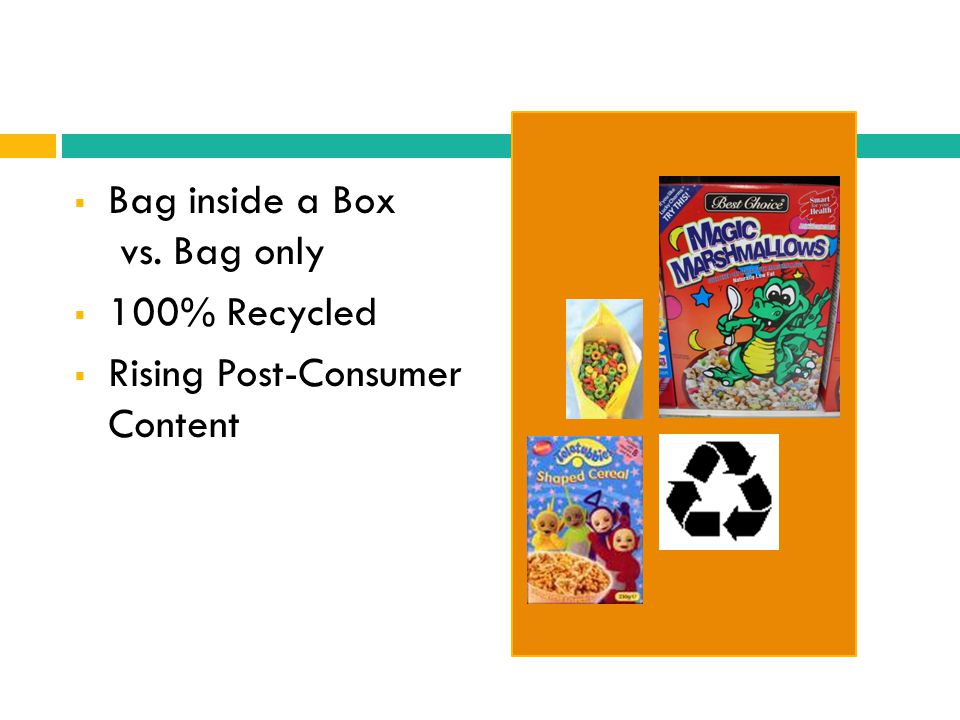 Bag inside a Box vs. Bag only 100% Recycled Rising Post-Consumer Content