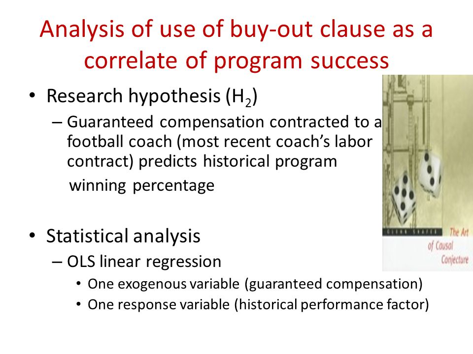 Analysis of use of buy-out clause as a correlate of program success Research hypothesis (H 2 ) – Guaranteed compensation contracted to a football coach (most recent coachs labor contract) predicts historical program winning percentage Statistical analysis – OLS linear regression One exogenous variable (guaranteed compensation) One response variable (historical performance factor)