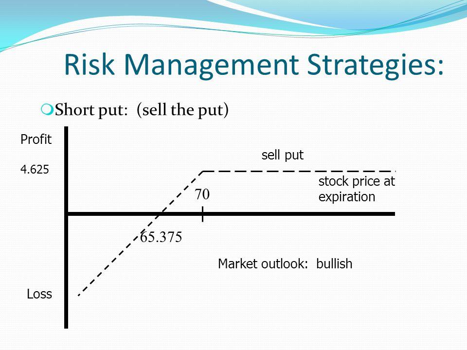 Risk Management Strategies: m Short put: (sell the put) 4.625 Loss Profit stock price at expiration sell put 70 65.375 Market outlook: bullish