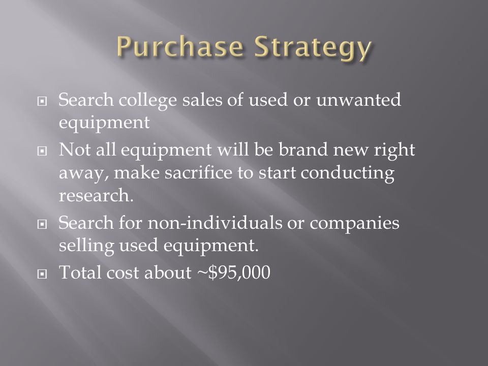 Search college sales of used or unwanted equipment Not all equipment will be brand new right away, make sacrifice to start conducting research.