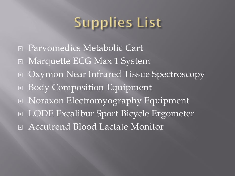 Parvomedics Metabolic Cart Marquette ECG Max 1 System Oxymon Near Infrared Tissue Spectroscopy Body Composition Equipment Noraxon Electromyography Equipment LODE Excalibur Sport Bicycle Ergometer Accutrend Blood Lactate Monitor