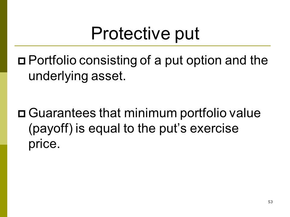 53 Protective put Portfolio consisting of a put option and the underlying asset. Guarantees that minimum portfolio value (payoff) is equal to the puts