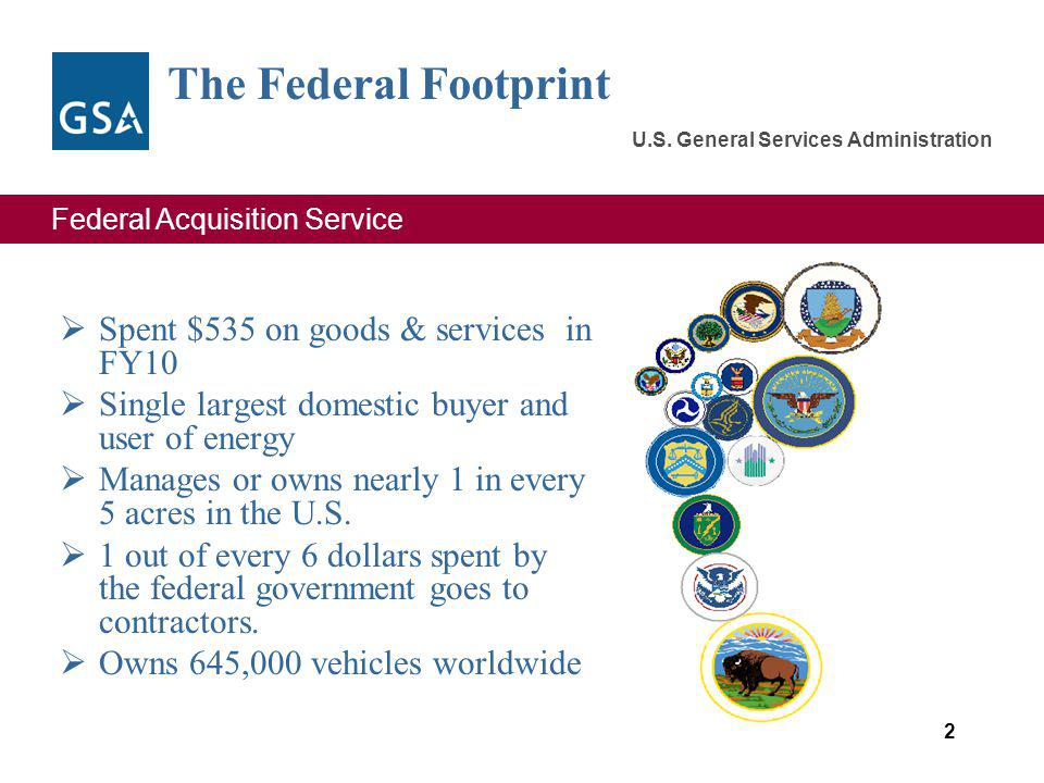 Federal Acquisition Service U.S. General Services Administration The Federal Footprint Spent $535 on goods & services in FY10 Single largest domestic