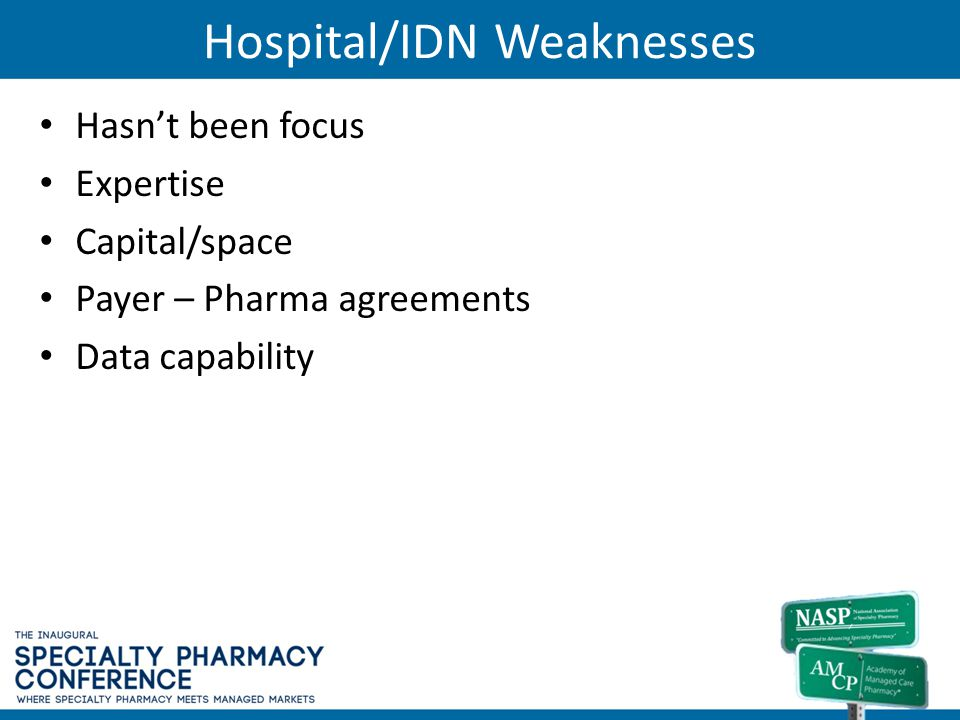 Hospital/IDN Weaknesses Hasnt been focus Expertise Capital/space Payer – Pharma agreements Data capability