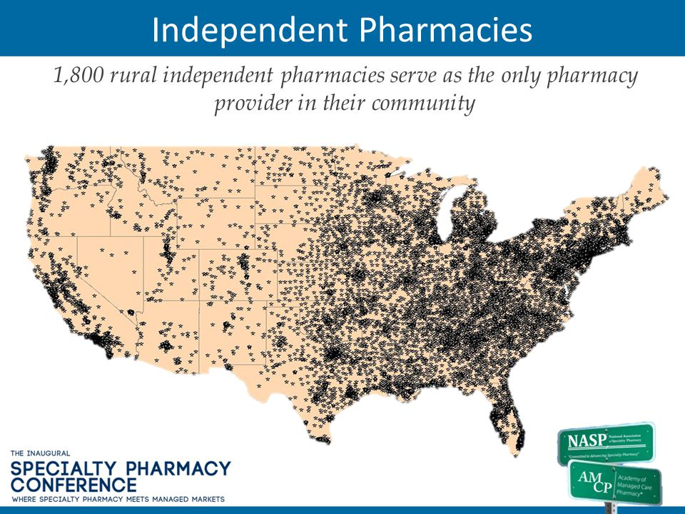 Independent Pharmacies 1,800 rural independent pharmacies serve as the only pharmacy provider in their community