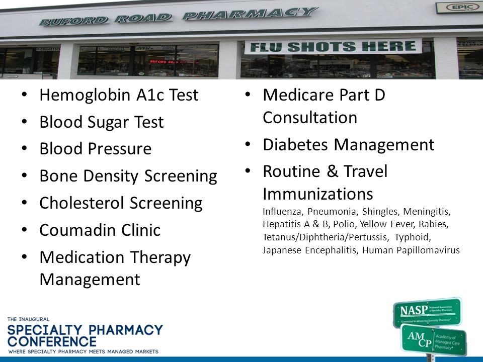 Buford Road Pharmacy, Richmond, VA Hemoglobin A1c Test Blood Sugar Test Blood Pressure Bone Density Screening Cholesterol Screening Coumadin Clinic Me
