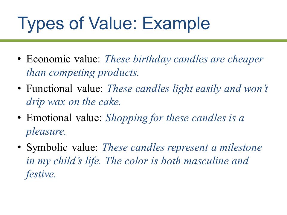Types of Value: Example Economic value: These birthday candles are cheaper than competing products.