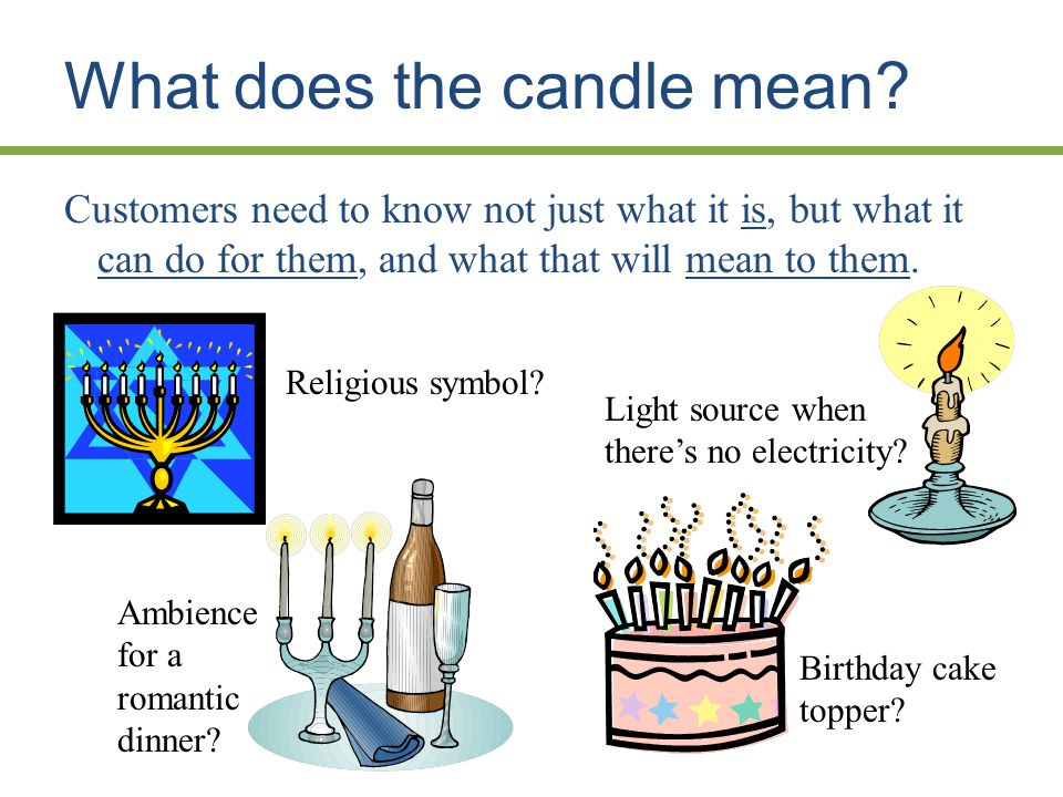 What does the candle mean. Religious symbol. Ambience for a romantic dinner.