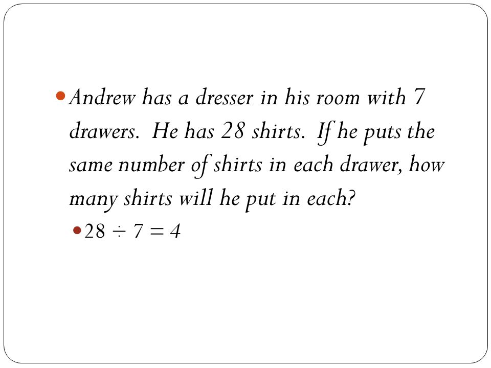 Andrew has a dresser in his room with 7 drawers. He has 28 shirts.