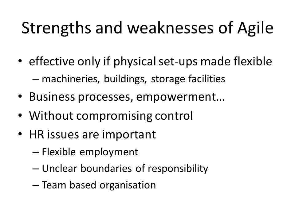 Strengths and weaknesses of Agile effective only if physical set-ups made flexible – machineries, buildings, storage facilities Business processes, empowerment… Without compromising control HR issues are important – Flexible employment – Unclear boundaries of responsibility – Team based organisation